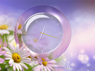 You will see animated scene with a gentle romantic background and analog clock. Screen Shot
