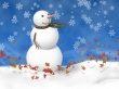 Snowman on blue - christmas wallpaper
