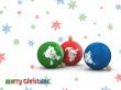 Snow and globes - christmas wallpaper