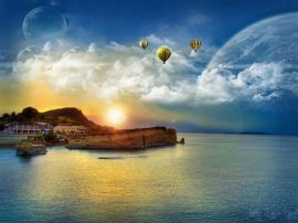 Baloons over beach - landscape wallpaper