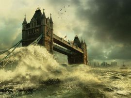 London Bridge flood - england wallpaper