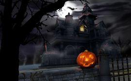 House and pumpkin - halloween wallpaper