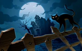 Cat on fence - halloween wallpaper