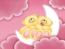 Bears on moon - valentines wallpaper