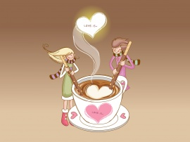 Cup of Love - valentines wallpaper