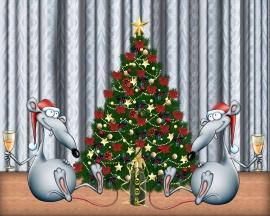 Rats Celebrating - christmas wallpaper