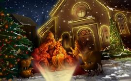 Christs Born - christmas wallpaper