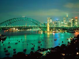 sydney harbor at dusk - australia wallpaper