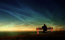 Waiting on the bench - scenery wallpaper