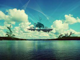 Floating island - landscape wallpaper