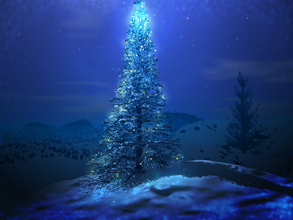 Blue Christmas Tree   Christmas Wallpaper