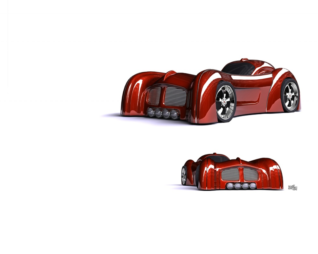 Red prototype car - abstract