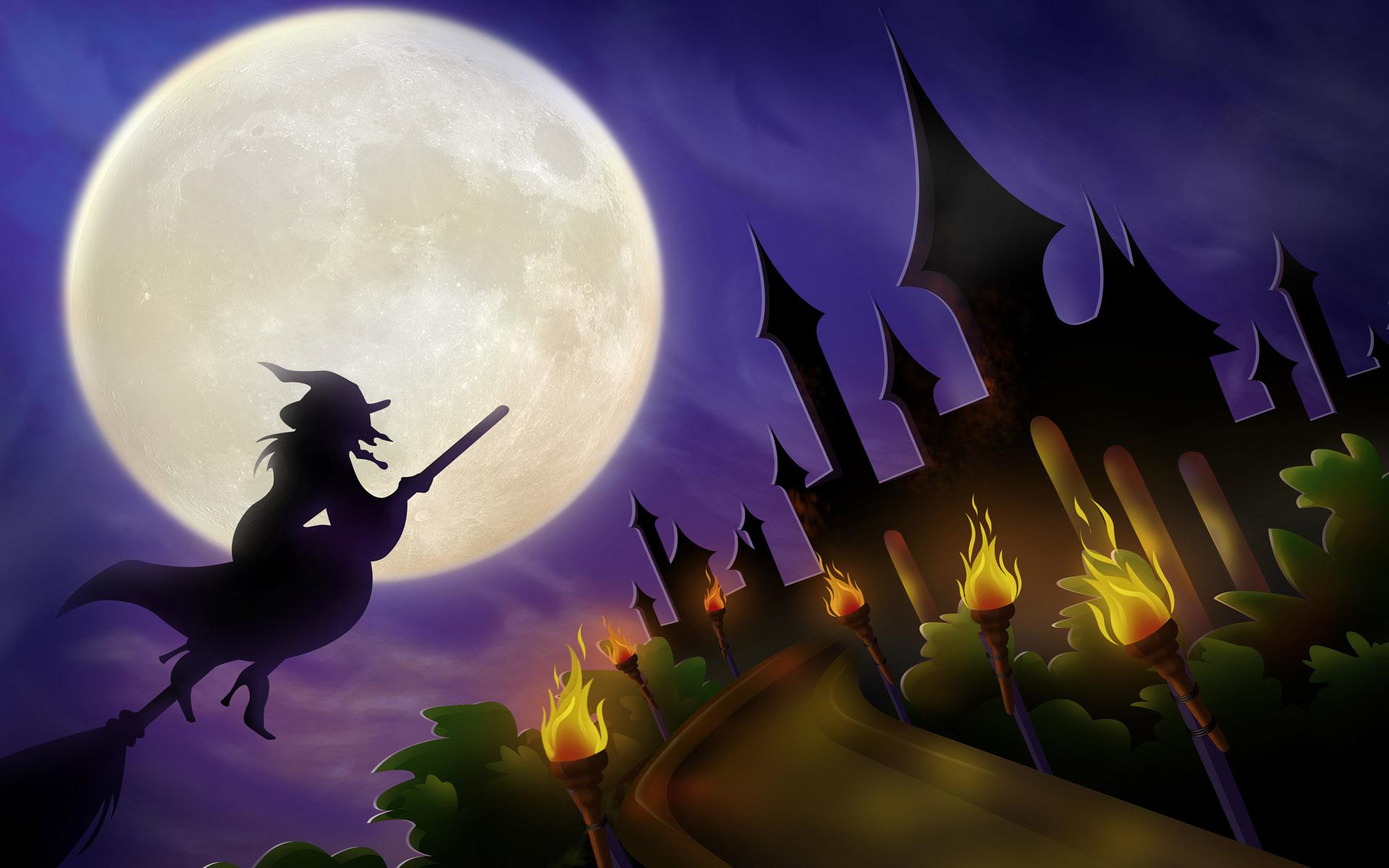 Download Wallpaper Halloween Purple - witch-on-a-broom-wallpapers_11250_1920x1200  HD_913081.jpg